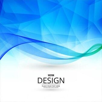 Fondo poligonal azul con formas onduladas
