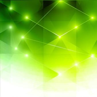 Fondo poligonal brillante verde colorido abstracto