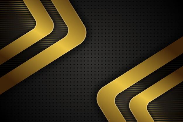 Fondo poligonal de concepto negro y oro