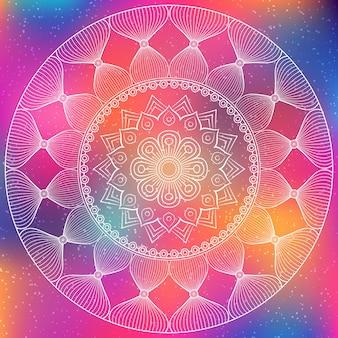 Fondo poligonal decorado con un mandala