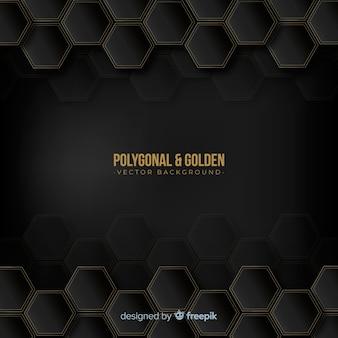 Fondo poligonal dorado y oscuro