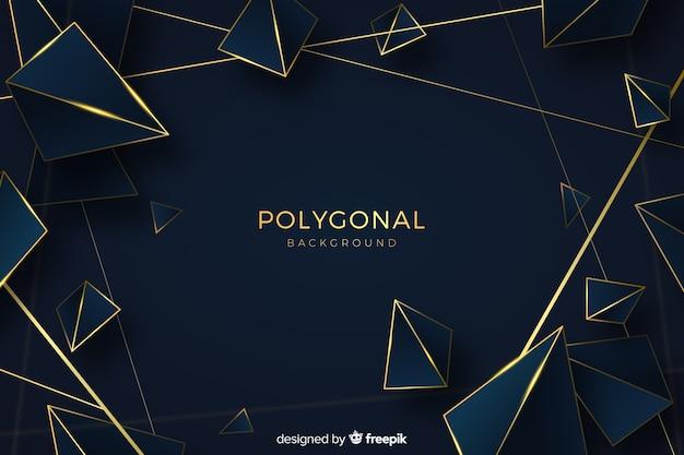 Fondo poligonal oscuro y dorado