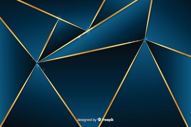 Fondo poligonal oscuro con líneas doradas