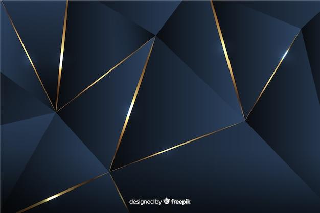 Fondo poligonal oscuro con líneas doradas.