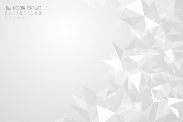 Fondo poligonal triángulo gris y blanco abstracto.