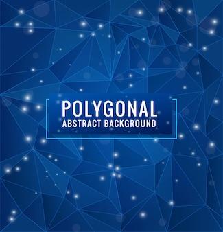 Fondo de polígono azul con puntos y líneas geométricas