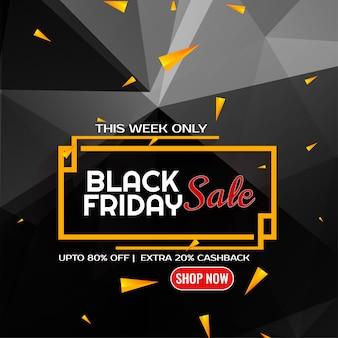 Fondo de polígono de venta de viernes negro con confeti