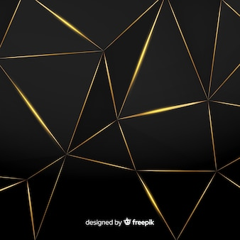 Fondo de polígonos oscuros y dorados