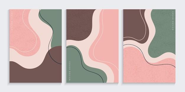 Fondo de portada abstracta con formas orgánicas a mano alzada