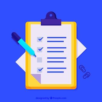 Fondo de portapapeles con lápiz y lista de verificación en diseño plano