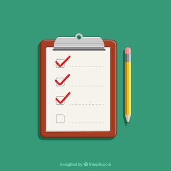 Fondo de portapapeles y lista de verificación