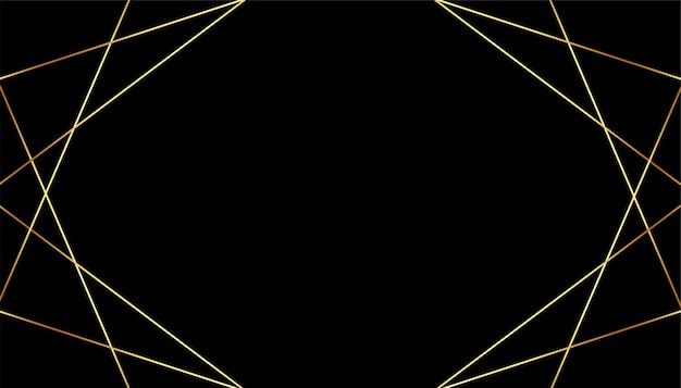 Fondo premium negro con líneas geométricas doradas.