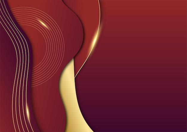 Fondo de presentación abstracto rojo y oro. fondo abstracto de lujo con líneas doradas sobre fondo rojo oscuro, moderno concepto de estilo 3d. ilustración del vector sobre el diseño de lujo de la plantilla moderna.