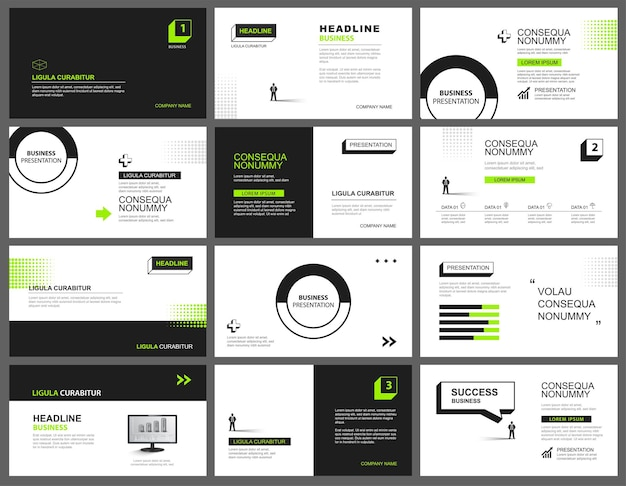 Fondo de presentación y diseño de diapositivas. diseño de plantilla geométrica verde y negra. se utiliza para presentaciones, presentaciones, diapositivas y marketing de negocios.