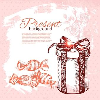 Fondo presente vintage dibujado a mano con caja de regalo. ilustración de vector con diseño de salpicaduras