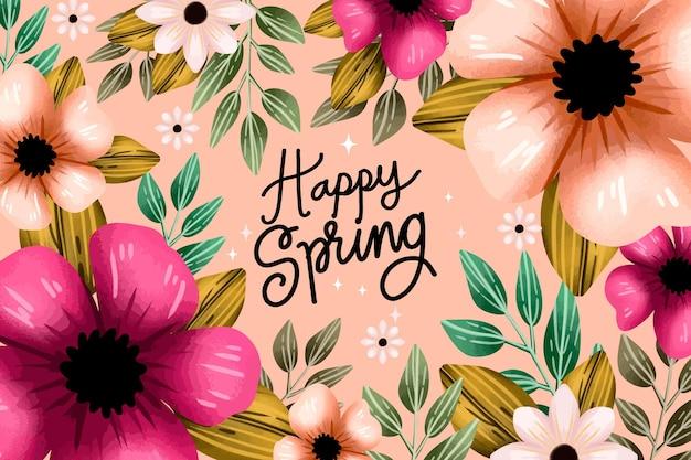 Fondo de primavera acuarela flores rosadas