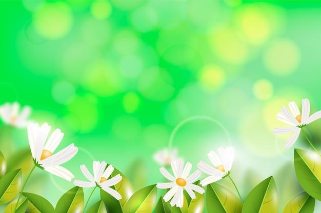 Fondo de primavera borrosa realista con espacio vacío