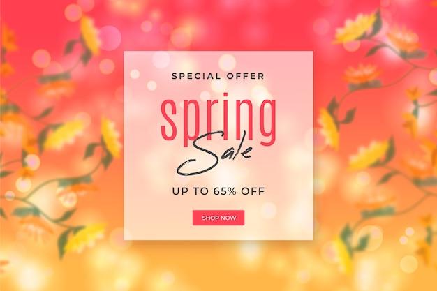 Fondo de primavera borrosa con venta
