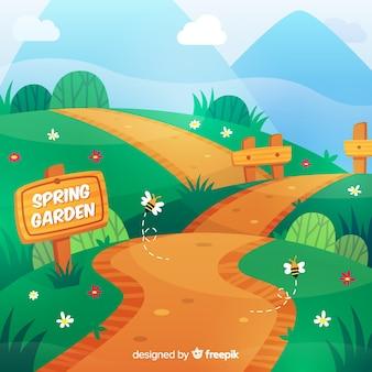 Fondo primavera camino dibujado a mano