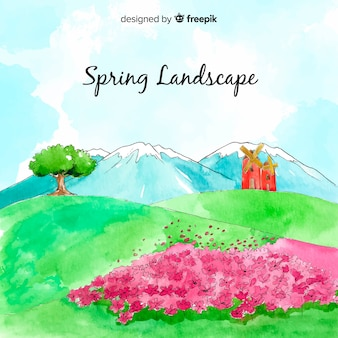 Fondo primavera campo acuarela