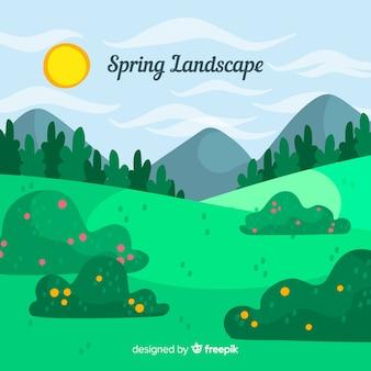 Fondo primavera campo dibujado a mano