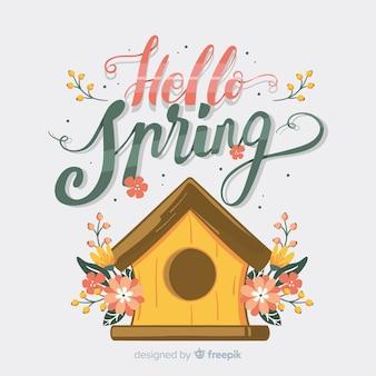 Fondo primavera casa para pájaros dibujada a mano