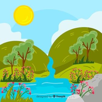 Fondo primavera cascada dibujada a mano