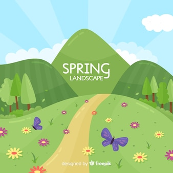 Fondo primavera colina dibujada a mano