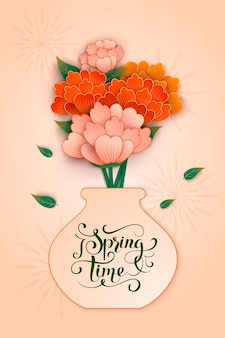 Fondo de primavera colorida con flor de papel