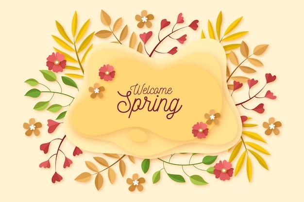 Fondo de primavera colorida en papel colorido estilo