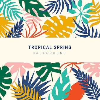 Fondo de primavera de coloridas hojas tropicales
