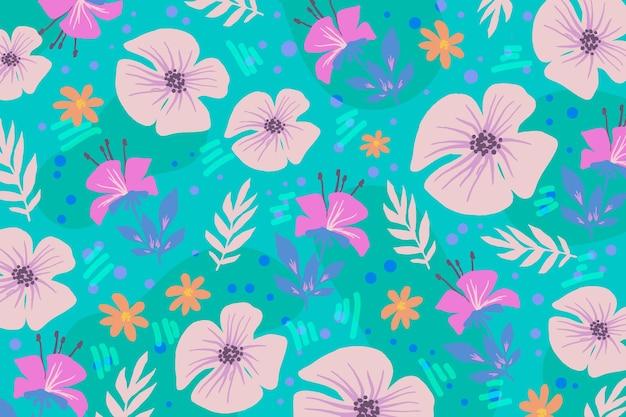 Fondo de primavera colorido pintado dibujado
