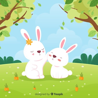 Fondo primavera conejos dibujados a mano