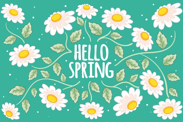 Fondo de primavera dibujado a mano con flores blancas