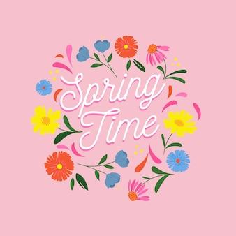 Fondo de primavera dibujado a mano con flores de colores