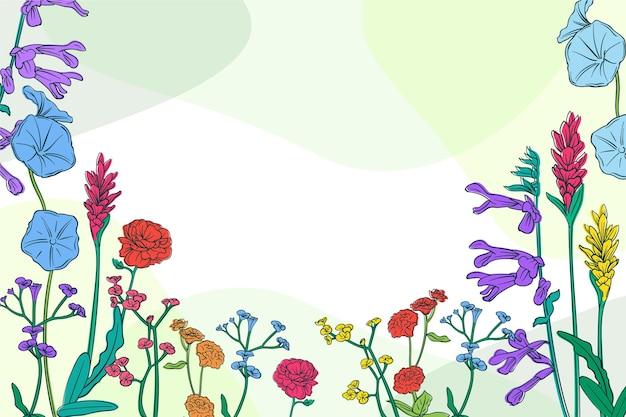 Fondo de primavera dibujado a mano con flores