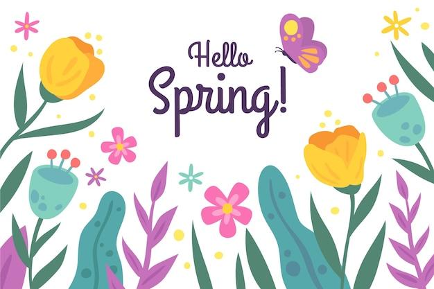 Fondo de primavera dibujado a mano con tulipanes y mariposas