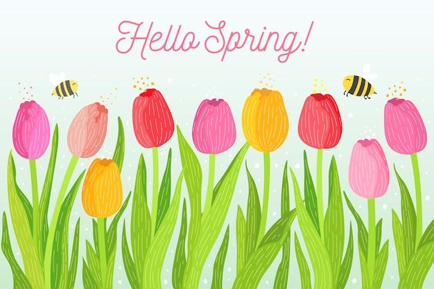 Fondo de primavera dibujado a mano