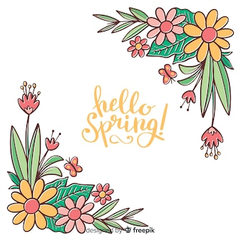 Fondo primavera esquina floral dibujado a mano