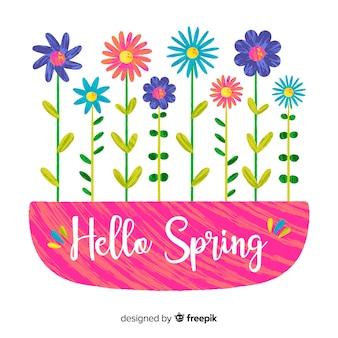 Fondo primavera fila flores dibujadas a mano