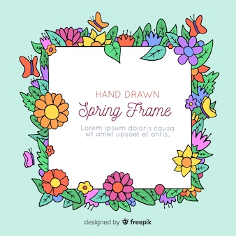 Fondo primavera floral dibujada a mano