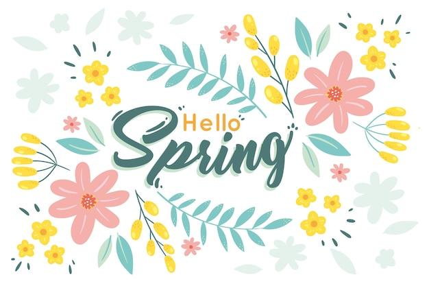 Fondo de primavera floral dibujado a mano