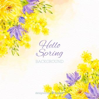 Fondo primavera flores acuarela