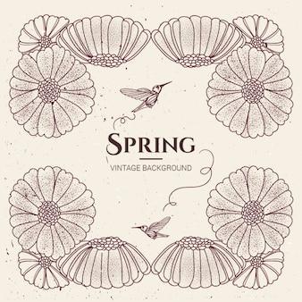Fondo de primavera con flores y colibrís