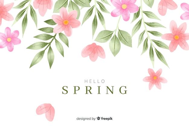 Fondo de primavera con flores y hojas de acuarela