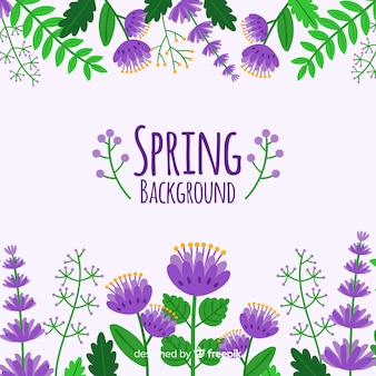 Fondo primavera flores planas