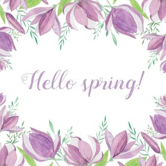 Fondo de primavera con flores púrpuras