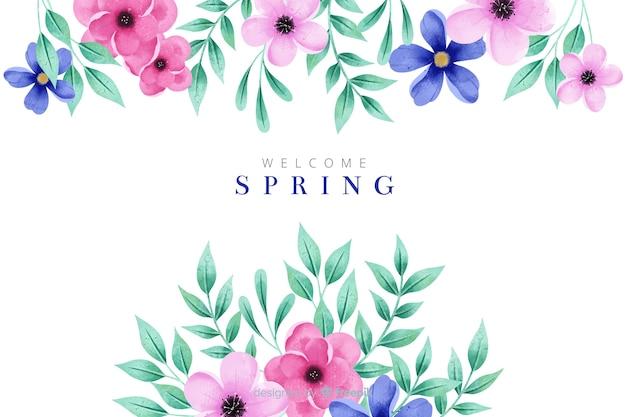 Fondo de primavera hermosa con flores acuarelas