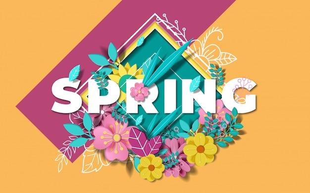 Fondo de primavera con hermosas flores de colores.