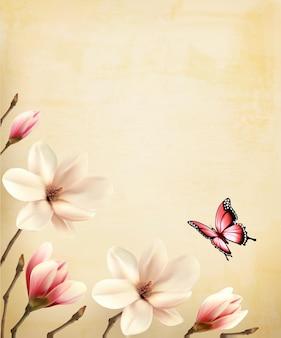 Fondo de primavera con hermosas ramas de magnolia en papel viejo.